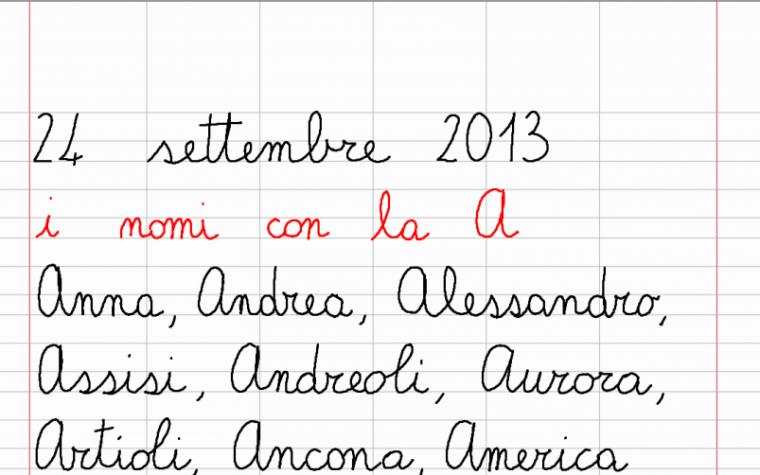 martedì 24 settembre – I nomi con la A (Italiano)