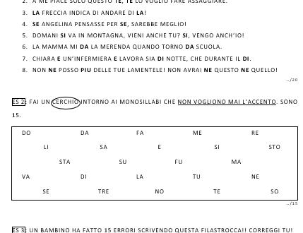Verifiche monosillabi accentati e non (versione base + versione BES)