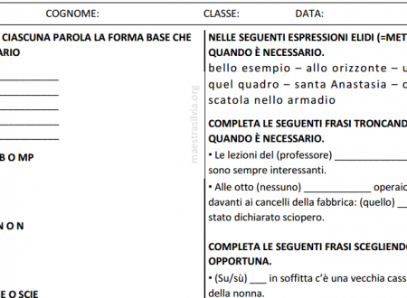 Verifica di ripasso – grammatica, secondo quadrimestre, classe 4^
