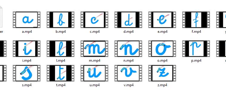 Video direzionalità lettere dell'alfabeto in corsivo minuscolo
